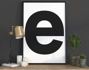 e Letter Print, Initial Wall Art, Scandinavian Art, Scandinavian Poster, Initial Poster e Letter Poster, e Letter Print, INSTANT DOWNLOAD