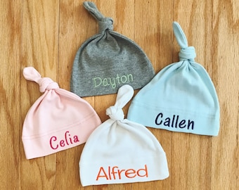 Personalized Baby Knot Hat, Newborn Baby Hat, Custom Embroidered Name, Infant Cap, Baby Shower Gift, Coming Home Outfit, Newborn Present