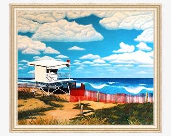 Large Beach Painting Beach decor Original beach art Original oil painting on canvas Coastal art Ocean oil painting Lifeguard tower Waves
