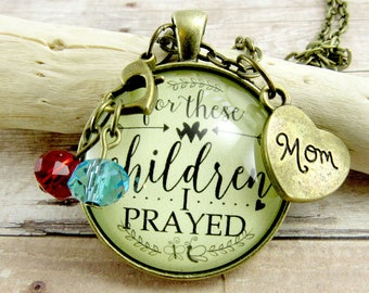 For These Children I Have Prayed, Mother's Necklace 1 Samuel 1:27 Adoption Jewelry Blessed Mom Custom 2+ Birthstones Mother's Day Gift