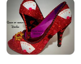 Queen Of Hearts playing cards red Alice in wonderland wedding prom cosplay shoes
