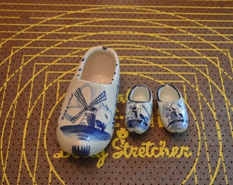 Set of Three Blue and White Dutch Shoes Figurines