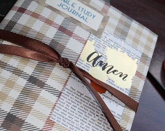 BIBLE STUDY JOURNAL - Brown Plaid - Amen - Fill in with your Insights or Favorite Verses!