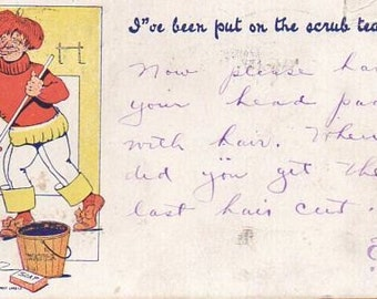 VINTAGE  POSTCARD, Ive been put on the Scrub Team, collected by junqueTrunque