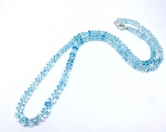 8 inches inches Aquamrine Round Single Line Beads Necklace, Aquamarine Necklace,, Size 4 mm - 5 mm