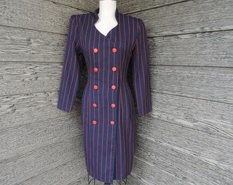 navy pinstripe shirtdress 1980s lady gangster red striped career chic dress medium