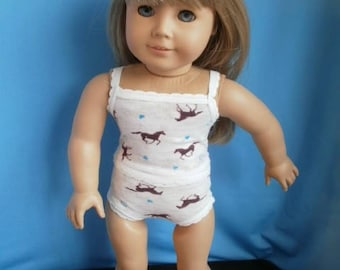 Panties with Matching Camisole  for American Girl Size Dolls,  Underwear for 18 inch dolls.