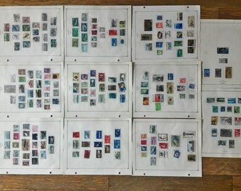 Lot 300 Piece Japanese Stamp Collection Abundance of 300 Stamps from Japan 1959-1970 Used and Unused mounted on Stamp Collecting Paper Pages