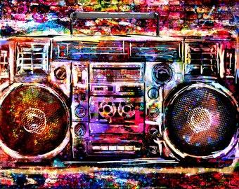 Boombox Art Print, Music art, Radio Artwork