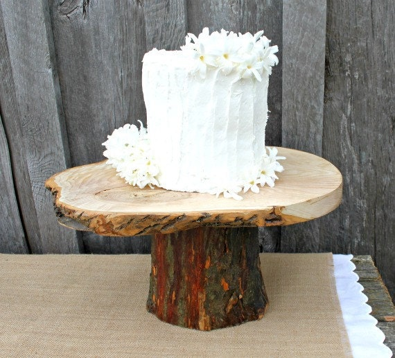 "Rustic Wedding Wood Cake Stand: Items Similar To 12"" Rustic Wedding Cake Stand, Natural"