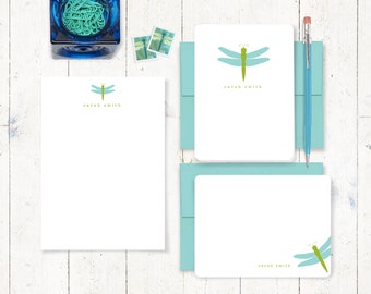 complete personalized stationery set - DRAGONFLY - cute stationary - cute note cards - simple notepad