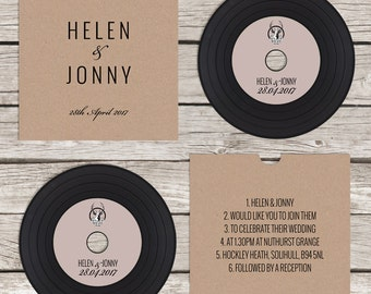Rustic CD 'vinyl' wedding invitation