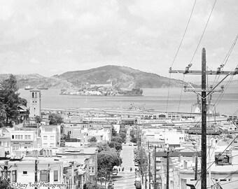 San Francisco Art, Photography Print, Black and White, Wall Art Print, Alcatraz Picture, California Wall Art, Bedroom Decor, Photo Print