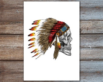 indian headdress skull art print illustration native american poster A4 8x10