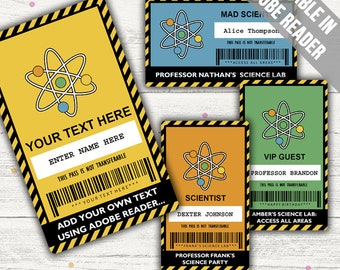 Science Party VIP Pass (Science Party Badge). Editable. Printable. Instant Download.