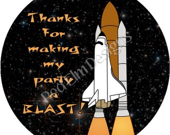 "Space Shuttle Stickers - Sheet of 20 - 2"" round.  Space Birthday Party Favors.  2 Inch Round Space Ship Stickers"