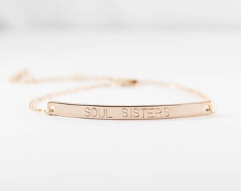 Soul Sisters Bracelet | Personalized Inspirational Bracelet | Hand Stamped Bracelet | Bar Bracelet | Best Friends Gift | Gift for Her