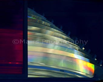 Red Glass Lighthouse Fresnel Lens Abstract Patterns Rainbow Light Blue Green, Fine Art Photography matted & signed 8x10 Original Photograph
