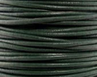 """2mm Round Dark Green Leather Lace Cord - 2mm 3/32"""" Diameter Forest Hunter Craft Jewelry Bracelet Wrap Necklace - I ship Internationally"""