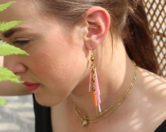 Tropicana Pink Lady Tropical Long Fringe Statement Earrings