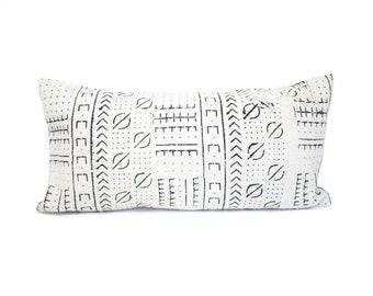 Mudcloth Pillow, African Mud Cloth Pillow Cover, Authentic Mudcloth Lumbar Pillow, Black & White African Mudcloth, Boho | 12x24 | Sarah