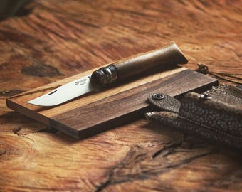 Roadside Knife + Board Set | Leather Case + Opinel Pocket Knife + Mini Cutting Board Gift Set | Perfect Gift