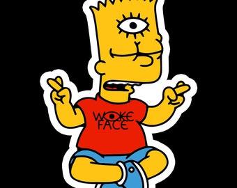 woke bart simpson sticker