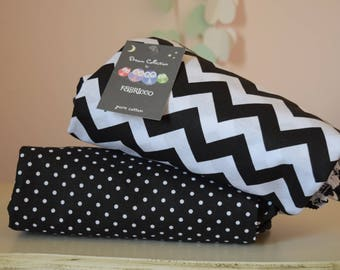 2 x Cot-Bed-Fitted-Sheet-100-COTTON- Cot Bed Fitted Sheet 100% COTTON Black White Chevron Dots Monochrome Bedding