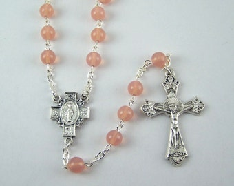 Pink Miraculous Medal Rosary (34)