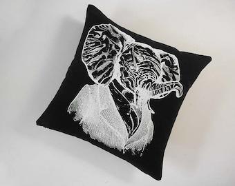 Elephant Professor silk screened cotton canvas throw pillow 18 inch white on black