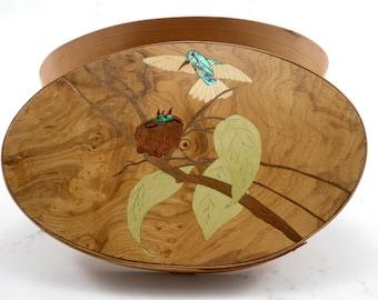 Shaker oval box with hummingbird inlay