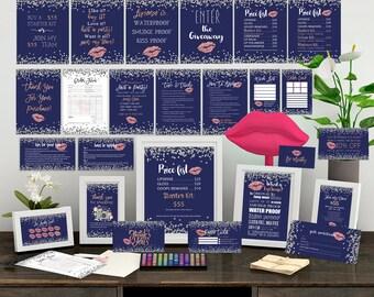 Lipsense Business Cards Bundle, Lipsense Marketing Kit,the ULTIMATE Marketing Bundle, Lipsense Party Printables, Silver Confetti, Navy Blue