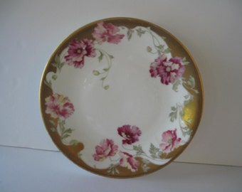 L Bernardaud Limoges D & C  Pink, Gold, White Plate /  Estate Find / Shabby Chic Decor / Cottage Decor / Antique China / Made in France