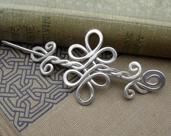 Celtic Double Swirls and Curls Sterling Silver Shawl Pin, Scarf Pin, Sweater Clip Brooch, Gift for Her Celtic Accessories, Knitting Jewelry