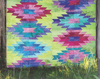 Weftovers Full Size or Small Queen Size Pieced Quilt Pattern by Eye Candy Quilts