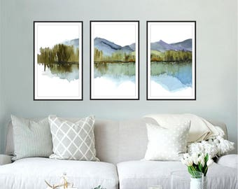 Extra Large Wall Art, 3 prints of 21x36 Inches each, Blue, Purple, Green White Art, Extra Large Art Abstract Landscape Watercolor Print