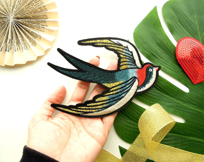LARGE Swallow patch  Tattoo style patch  Sew on sparrow swallow applique  Tattoo style sparrow sew on patch  DIY customise jacket, bag, hat