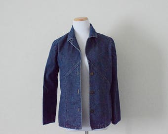 FREE usa SHIPPING vintage Women's denim jacket/  blue denim jacket/ button up jacket/ retro/ size M