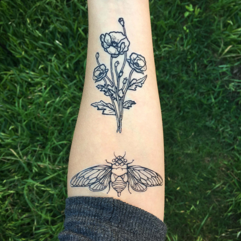cicada temporary tattoo black line tattoo insect bug tattoo symmetrical tattoo. Black Bedroom Furniture Sets. Home Design Ideas
