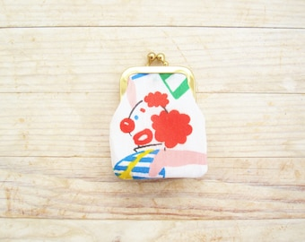 Coin purse kiss lock mini tiny wallet pouch clip frame change purse clown buffoon circus nose red green blue white gold frame kids gift