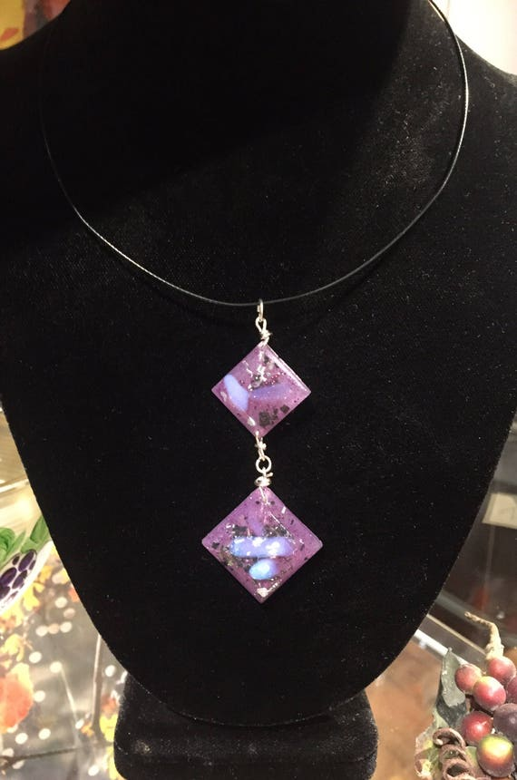 Violet Flame Opal Earth Energy Orgonite® Necklace for Spiritual Strength- Orgone Energy Generator- Empath Protection- Orgonite® Earrings