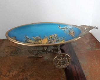 Vintage  Brass Enameled Holy Land Judaic Serving Dish