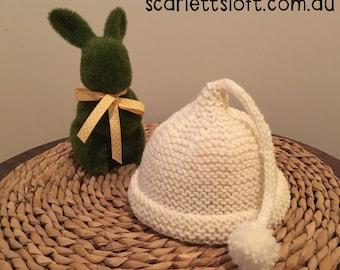 Newborn baby pixie hat. Handknitted in 100% wool. Free postage in Australia.