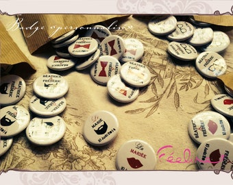 Badges customized for wedding and holiday gifts personalized Badges: for wedding guests Feeline creating Nice