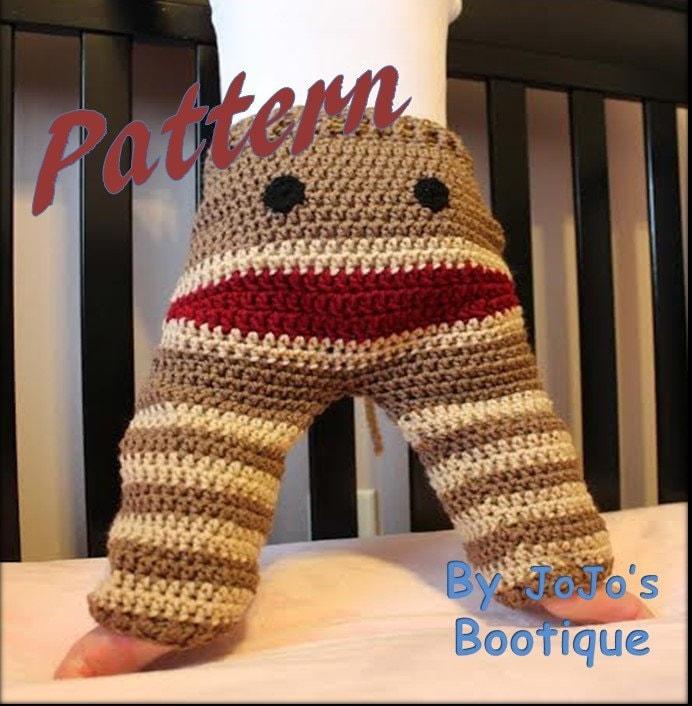 PATTERN Crochet Monkey Toddler Pants PATTERN Sock Monkey