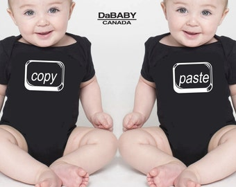 Funny Twin Outfits, Copy Paste Twin Bodysuits, Twin Girls Clothing, Twin Boys Clothing, Twin Baby Clothing, Twins Outfits, Gifts for Twins