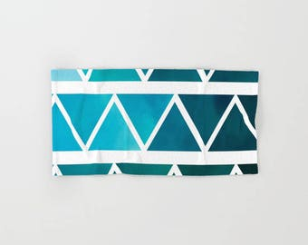 Hand Towels - Blue Ombre Modern Art - Bath Hand Towel - Kitchen Hand Towel - Microfiber - Cotton Terry Cloth - Made to Order