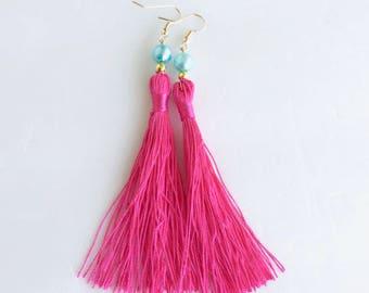 Big Little Lies Hot Pink Tassel Earrings Tassel Earrings Pink Earrings Reese Witherspoon Earrings.