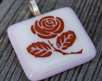 SALE Rose Fused Glass Pendant Flower Jewelry