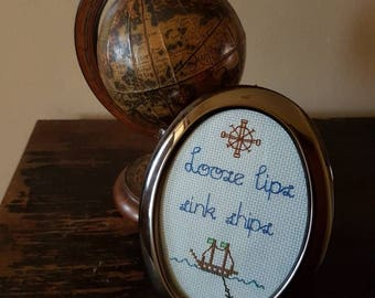 Loose Lips Sink Ships framed cross stitch